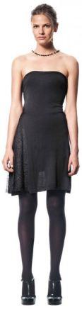 вечернее платье из трикотажа, капроновые колготки и черные туфли на платформе - от марки Sisley